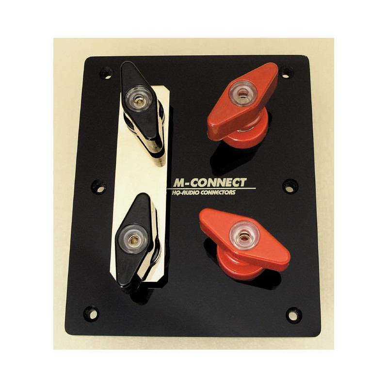 Mundorf MConnect Copper 8mm binging posts (4 units, for bi-wiring) with mounting plate